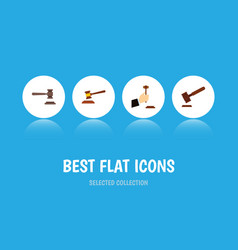 Flat icon hammer set of legal justice law and vector