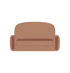 flat sofa cartoon brown couch isolated vector image