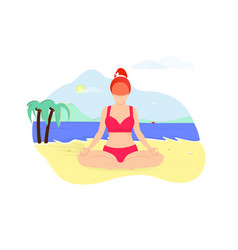 Ginger woman doing yoga asana on seaside beach vector