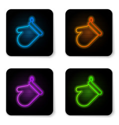 glowing neon oven glove icon isolated on white vector image
