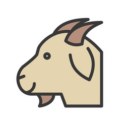 Goat head farm animal filled style editable vector
