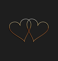 Gold two linked hearts icon isolated on black vector