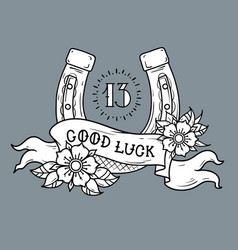 good luck tattoo gold horseshoe and number 13 vector image