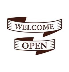 graphic vintage welcome and open on ribbon vector image