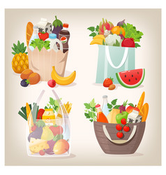 grocery shopping bags filled with food vector image