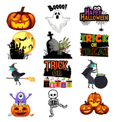 halloween trick or treat icons vector image