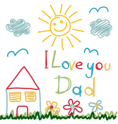 hand drawn card for fathers day vector image