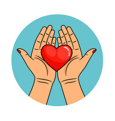 Hands and heart icon vector