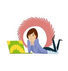 happy girl study notebook sketch school vector image
