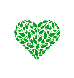 heart green leaf vector image