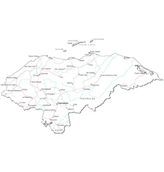 Honduras Black White Map vector
