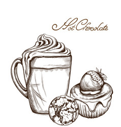hot chocolate and cupcake line art style vector image