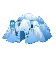 ice castle in the mountains vector image