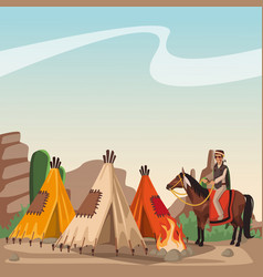 Indian village at landscape vector