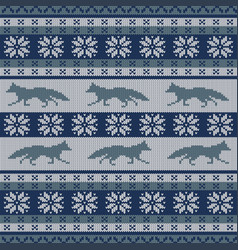 Knitted seamless ornament with running fox vector