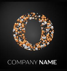 letter o logo gold-silver dots alphabet logotype vector image