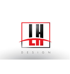 Lh l h logo letters with red and black colors and vector