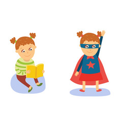 little girl reading and wearing superhero costume vector image