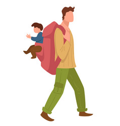 man traveling with small kid father with rucksack vector image