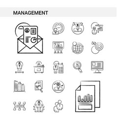 Management hand drawn icon set style isolated on vector