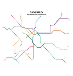 Map sao paulo metro suburban rail and vector