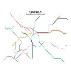Map sao paulo metro suburban rail vector