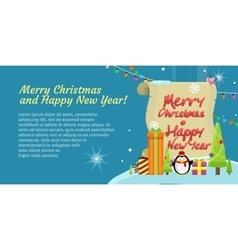 Merry Christmas and Happy New Year Colorful Banner vector