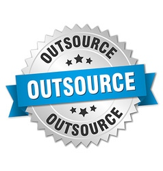 outsource 3d silver badge with blue ribbon vector image