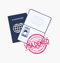 Passport with red stamped visa denied vector