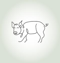 Pig line art vector