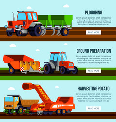 Potato cultivation flat banners vector