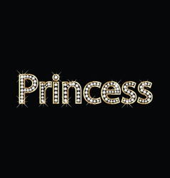 Princess word gold letters vector