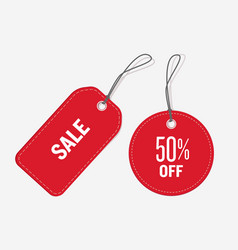 Red color price tags set vector