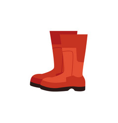 rubber red boots for construcion work icon vector image