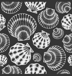 scallop seamless pattern hand drawn seafood on vector image