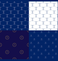 seamless marine pattern with lighthouse vector image