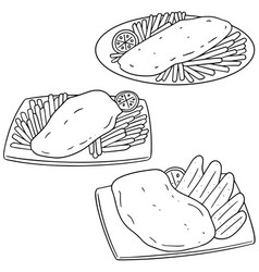 set of fish and chips vector image