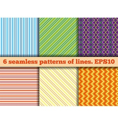 Set of seamless patterns of lines vector image