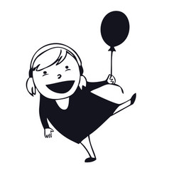set of tiny people a young girl with balloon vector image