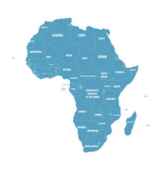 Simple flat blue map of africa continent with vector