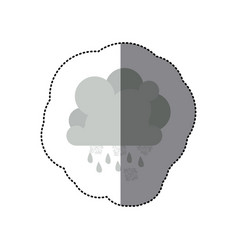 Sticker monochrome cumulus cloud with snowflakes vector
