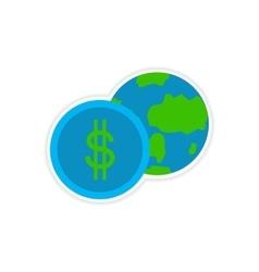 Stylish sticker on paper Globe and money vector