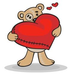 teddy bear with big heart vector image