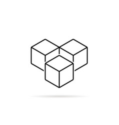 thin line cubes like sugar or ice vector image