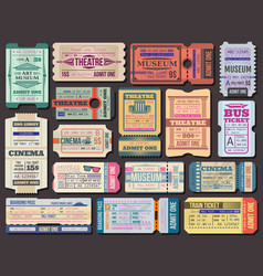 ticket to movies theatre or museum boarding pass vector image