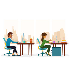 two people working using computer at the office vector image
