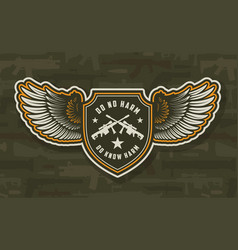 vintage military colorful winged badge vector image