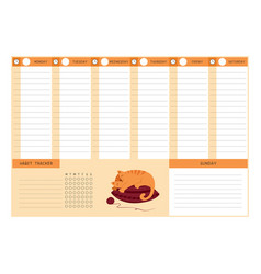 Weekly planner with habit tracker template empty vector