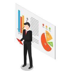Worker presenting diagram report on board vector
