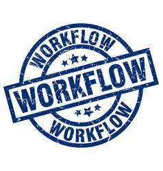 Workflow blue round grunge stamp vector